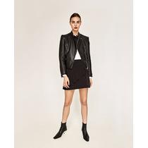 Campera Efecto Cuero Negra Dama Zara 2017