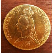 Moeda 5 Libras Inglaterra 1887 Rainha Victoria Ouro (39,9g)