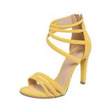 Lindissima Sandália Di Cristalli Tiras Amarela 39 / 40
