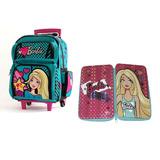 Combo Mochila Barbie Con Carro 16791 + Cartuchera 2 Pisos!!!