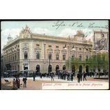 Postal. Buenos Aires Ca 1900. Banco De La Nación Y Tranvías.