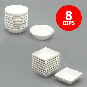 Set X8 Dips Cuenco Cazuela Porcelana Blanca Cuadrado Redondo