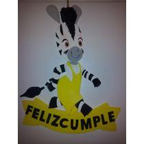 Cartel Cumpleaños - Zou La Cebra - Goma Eva 50 X 40 Cm