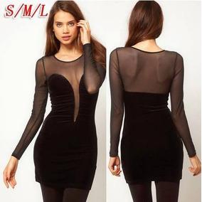 Sexy Vestido Negro Con Transparencia
