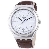 Swatch Appia Cuero Del Reloj Para Hombre - Plata