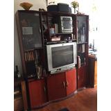 Mueble De Living Comedor Para Tv Y Audio, Libros Y Vitrina.