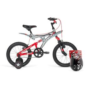 Bicicleta Infantil Rodada 16 Xpert Dh Doble Suspensión Casco