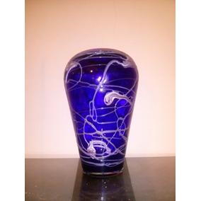 Jarrón De Cristal Murano - Decorados En Plomo (42 X 24 Cm)