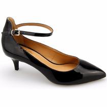 Sapato Feminino Scarpin Couro Verniz Tornozeleira Salto Fino