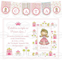 Kit Imprimible Princesa Candy Bar Cumpleaños Invitación