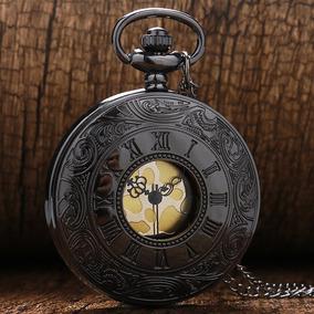 Relógio De Bolso Preto Romano Clássico Luxo Vintage Quartzo