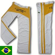Calça Capoeira Branca Amarela Abada Helanca Poliamida Adulto