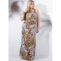 Vestido Longo Animal Print Moda Plus Size 100% Algodão