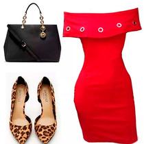 Vestido Tubinho Vermelho Ilhos Vestidos Online Promoção