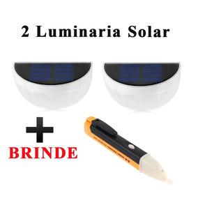 Luminária Solar 6 Led Jardim Area De Lazer + Brinde