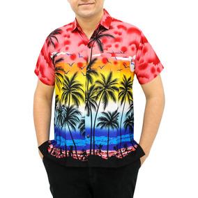 Camisa Hawaiana La Leela Likre De Playa C/palmera Y Nube