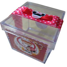 50 Caixinhas Acrílico Personalizadas Minnie Vermelha. Minie