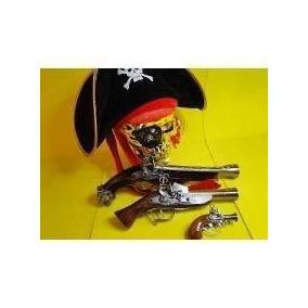 Fantasia Pirata 03 Revolver Pistola Chapeu Mascara Caveira
