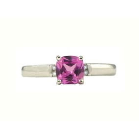 Anillo Con Topacio Natural Cushion Rosa De 3.72 Cts.