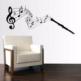 Adesivo Decorativo Musica Clarinete Nota Claves Papel Parede