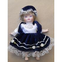 Muñeca Antigua Toda Porcelana Vestida - Altura 23 Cm.