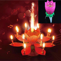 Vela Flor Pastel De Cumpleaños Giratoria Musical Fiesta