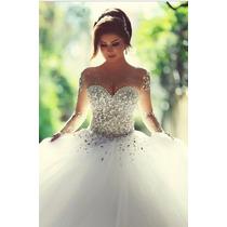 Vestido Puro Luxo Casamento Noiva Baile Cristais Brilhantes