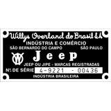 Plaqueta Jeep Willys Rural / Chassis E Numero De Série