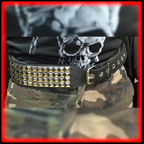 Cinturon Cuero Con Tachas 4 Fila Med Cinto - Metal Heavy