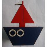 Barco Em Mdf Azul /vermelho 6,5cmx6.6cmx19,8cm