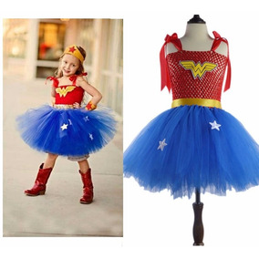 Vestido Disfraz Niña Mujer Maravilla Con Tutú Envio Gratis