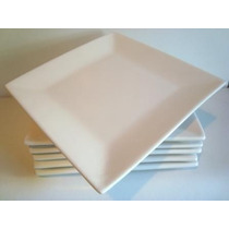 Plato Cuadrado Postre Blanco 20x20cm Cerámica Fabrica