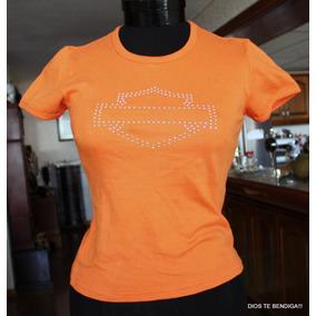 Harley Davidson Polera Naranja Cristales Ts