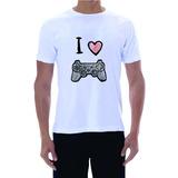 Camiseta I Love Playstation Ps4 Ps3 Branca Sony Ps4 Neo Psp