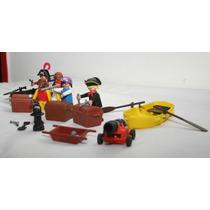 Playmobil Set De Piratas + Bote Y Cañon!!