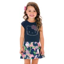Vestido Infantil Azul Marinho Com Saia Rodada Estampada Comb