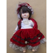Muñeca Antigua Toda Porcelana Vestida - Altura 22 Cm.
