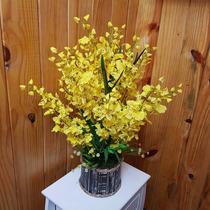 Arranjo Flores Artificiais - Orquídea Pingo De Ouro Tam65x35