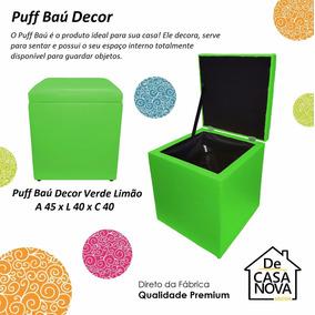 Puff Pufe Baú Quadrado Verde Limão 40 X 40 X 45 (+ Cores)