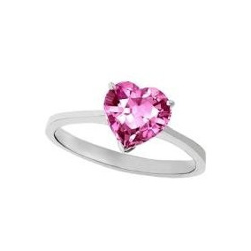 Anillo Con Topacio Natural Corazon Rosa De 6.22 Cts.