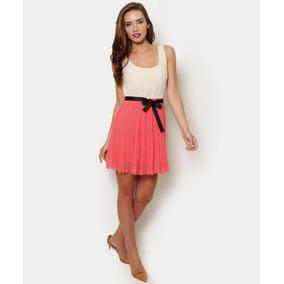 Vestido Corto Sin Mangas, Coral / Hueso, Talla M