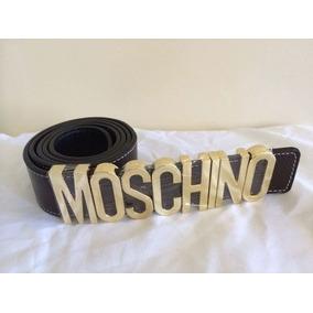 Cinto Moschino - Fivela Dourada - Couro