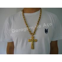 Corrente Grossa Dourada + Pingente Cruz Jesus Folheado Ouro