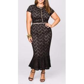 Vestido Longuete Em Renda, Festa, Plus Size