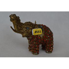 8551 Adorno Indiano Elefante Latão/resina