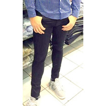 Jeans Chupin Negro Gabardina Elastizado