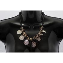 Collar Moda Negro Conjunto De Aros Y Monedas Antiguas Cc186