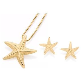 Conjunto Colar 42cm+brinco Estrela Do Mar Ouro Rommanel