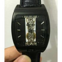 Relógio Corum Retangular Transparente Preto Couro