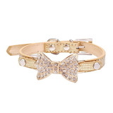 Collar De Perro Elegante Hermoso Simulación Diamante Y Cuero